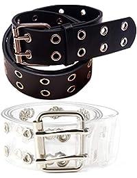 FGECHENGO Fashion Faux Leather Clear Double Grommet Waist Belts With Holes for Women Teens Girls Transparent PVC Belt for Jeans Pants, Medium