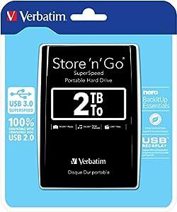 Verbatim 2TB Store 'n' Go Portable Hard Drive, USB 3.0 - Compatible with USB 2.0 - PC / Mac - Diamond Black