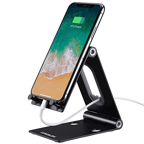 Cell Phone Stand - Cenawin iPhone Stand for Desk, Foldable iPad Tablet Holder Charging Dock Cradle for iPhone, Nintendo Switch and All Smartphones