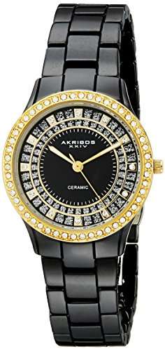 Akribos Women s Crystal Embellished Ceramic Watch – Link Bracelet – AK509