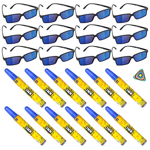 Shop Zoombie 24 PC Spy Secret Agent Party Supplies Party Favor - 12 Spy Glasses, 12 Disappearing Ink, and 1 Triangle Eraser - Detective, Prizes, Treasure Box -