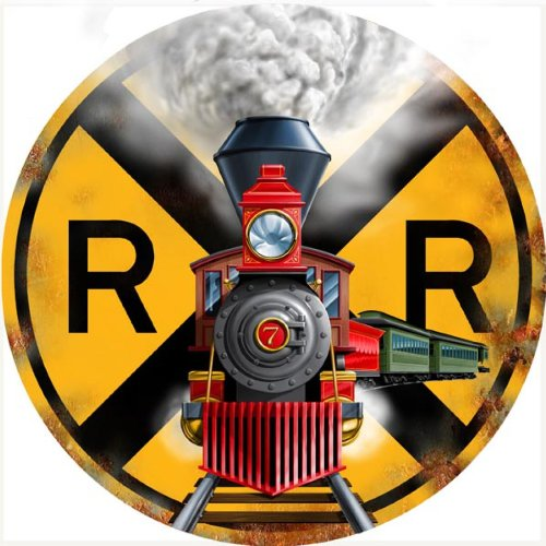 (Victory Vintage Signs Railroad Crossing 5440 Engine with Train Cars Round Reproduction )