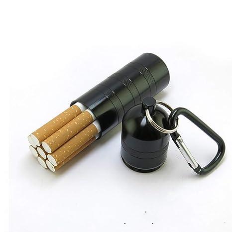QLIGHA Caja de Cigarrillos de Metal portátil cilíndrica con ...