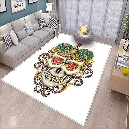 Day of The Dead Anti-Static Area Rugs Sugar Skull with Heart Pendants Floral Colorful Design Print Children Kids Nursery Rugs Floor Carpet White Ivory and Yellow