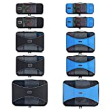 Pro Packing Cubes – 10 Piece Lightweight Trave Cube Set – Organizers and Compression Pouches System for Carry-on Luggage, Suitcase and Backpacking Accessories (Graphite-Sky Blue)