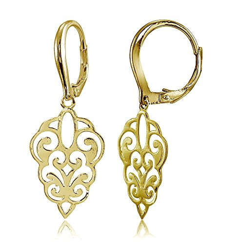 Yellow Gold Flashed Sterling Silver High Polished Filigree Dangle Leverback Earrings