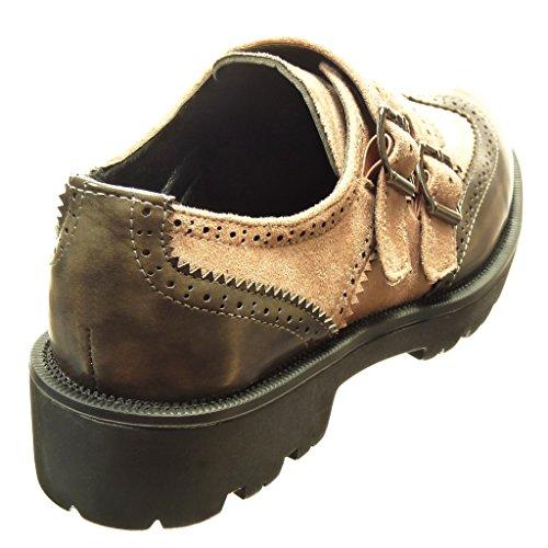 Angkorly - damen Schuhe Derby-Schuh - bi-Material - Schleife - Perforiert Blockabsatz 3.5 CM - Rosa
