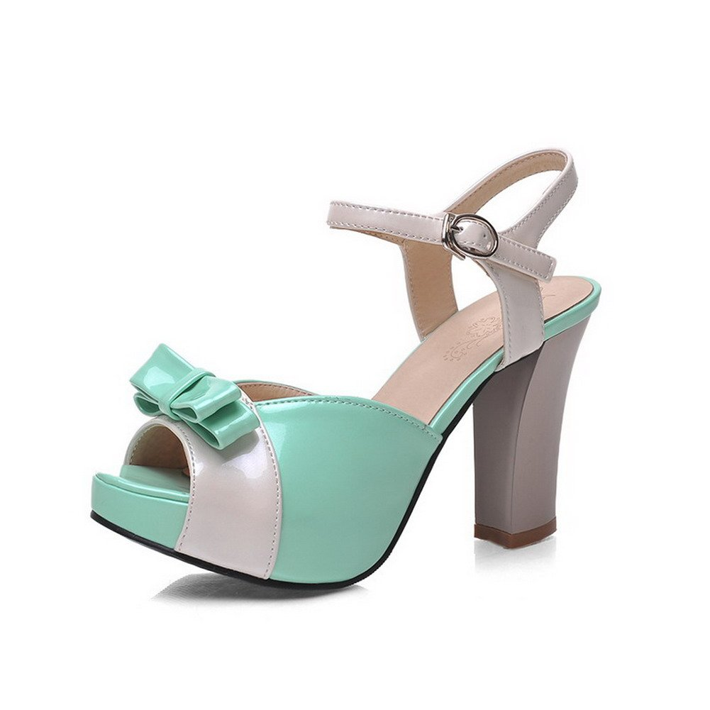 AllhqFashion Women's Open Toe High-Heels Soft Material Assorted Color Buckle Heeled-Sandals, Green, 36