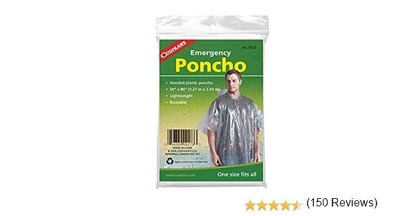 Poncho de Emergencia para Supervivencia Coghlans Transparente para Hombre Clear Hombre Emergency Poncho Transparente
