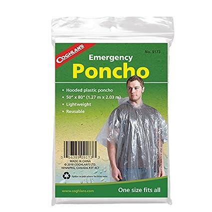 Poncho de emergencia para supervivencia Coghlans transparente, para hombre, hombre, Emergency Poncho - Clear, transparente 9173