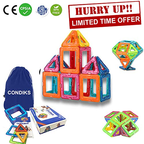 CONDIKS Magnetic Blocks, 30PCS Magnetic Building Blocks Set, Magnetic Tiles, Magnetic Toys Magnets for Kids or Toddlers, STEM Educational Construction Puzzle Toys for Kids Over 3 Years Boys Girls -