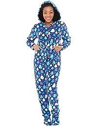 Womens Fleece Onesie, Hooded Footed Jumpsuit Pajamas