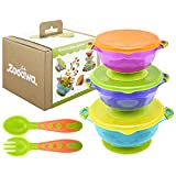Zooawa Baby Suction Bowls + Fork Spoon Set, 3-Pack Different Size Nonslip Spill Proof Feeding Bowls with Feeding Spoon and Fork Cutlery Travel Set Training Utensils for Infant Toddler, BPA-Free