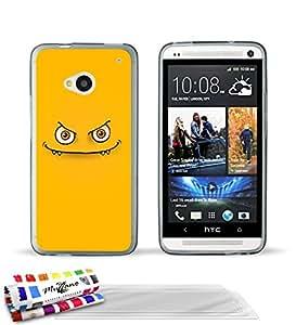 """Carcasa Flexible Ultra-Slim HTC ONE de exclusivo motivo [Monstruo amarillo] [Gris] de MUZZANO  + 3 Pelliculas de Pantalla """"UltraClear"""" + ESTILETE y PAÑO MUZZANO REGALADOS - La Protección Antigolpes ULTIMA, ELEGANTE Y DURADERA para su HTC ONE"""