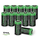 c 123 batteries - CR123A Lithium Batteries, Enegitech 12 Pack 3V 1300mAh Non-rechargeable with PTC Protection for Arlo Camera VMS3230 (Old Version Only), Flashlights, Laser Pointer Light Meters, Remote Toys
