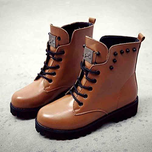 Cuero Mujer Plataforma Marrón Casual Logobeing Forradas De Zapatos Boots Calientes Botines Planas Nieve Calzado Botas Planos Piel Deportivo Combate Militares nxHHR