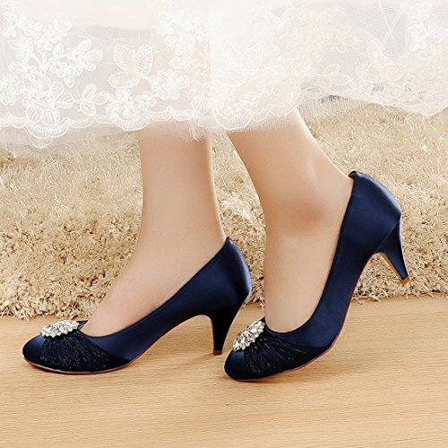 a13e4867add LUXVEER Satin Women Shoes Wedding Shoes with Rhinestone Bridal Shoes Low  Heel Closed Toe Lace Wedding