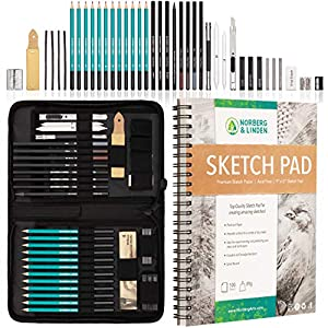 XXL Drawing Set – Sketching and Charcoal Pencils. 100 Page Drawing Pad, Kneaded Eraser, and Graphite. Art Set for Kids, Teens and Adults