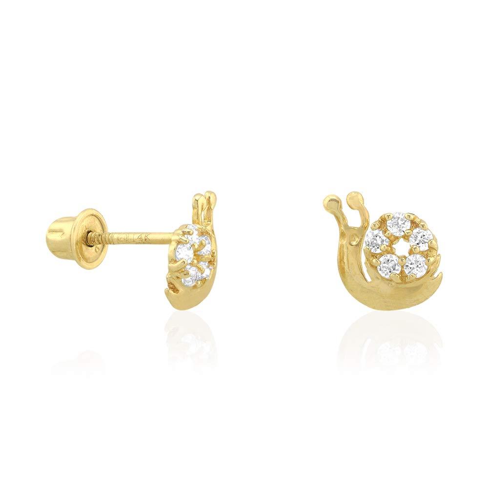 14k Yellow /& White Gold Zircon Snail Shaped Screwback Stud Kid Earrings