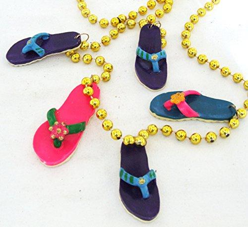Sandal Beach Party Luaua Sandals Necklace New Orleans Mardi Gras Spring Break Flip -