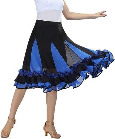 Falda de Baile Mujer de Malla Floral Volante para Flamenco Salsa ...
