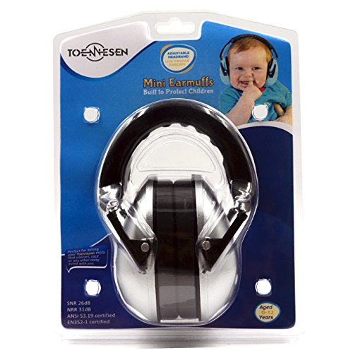Foldable Headband Design - TOENNESEN Baby Hearing Protection Ear Muffs Kids Ear Defenders for 3 Month to 12 Years with Adjustible Headband Foldable Design (Silver)