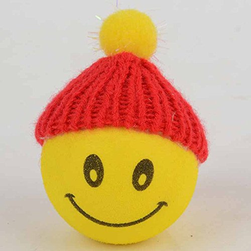 - Yellow Happy Smiley  Face With Wool Hat Car Antenna Pen Topper Aerial Ball Description