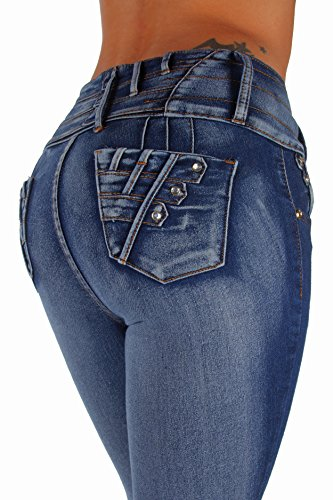 K584P - Plus Size, Colombian Design, Butt Lift, Levanta Cola, Skinny Jeans in Washed Blue Size 18