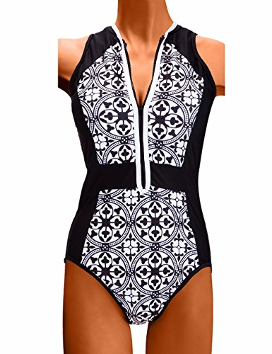 2017 Nuevo Mujer Bañador Biquinis con Cremallera Push up Bikinis Porcelana Azul y Blanca Traje de Baño Beachwear Swimsuit Swimwear Monokini Playa Natación