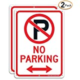 (2 Pack) No Parking Sign with Symbol with Arrows Sign, 10 x 7 Inches Reflective .40 Rust Free Aluminum, UV Protected, Weather Resistant, Waterproof, Durable Ink, Easy to Mount