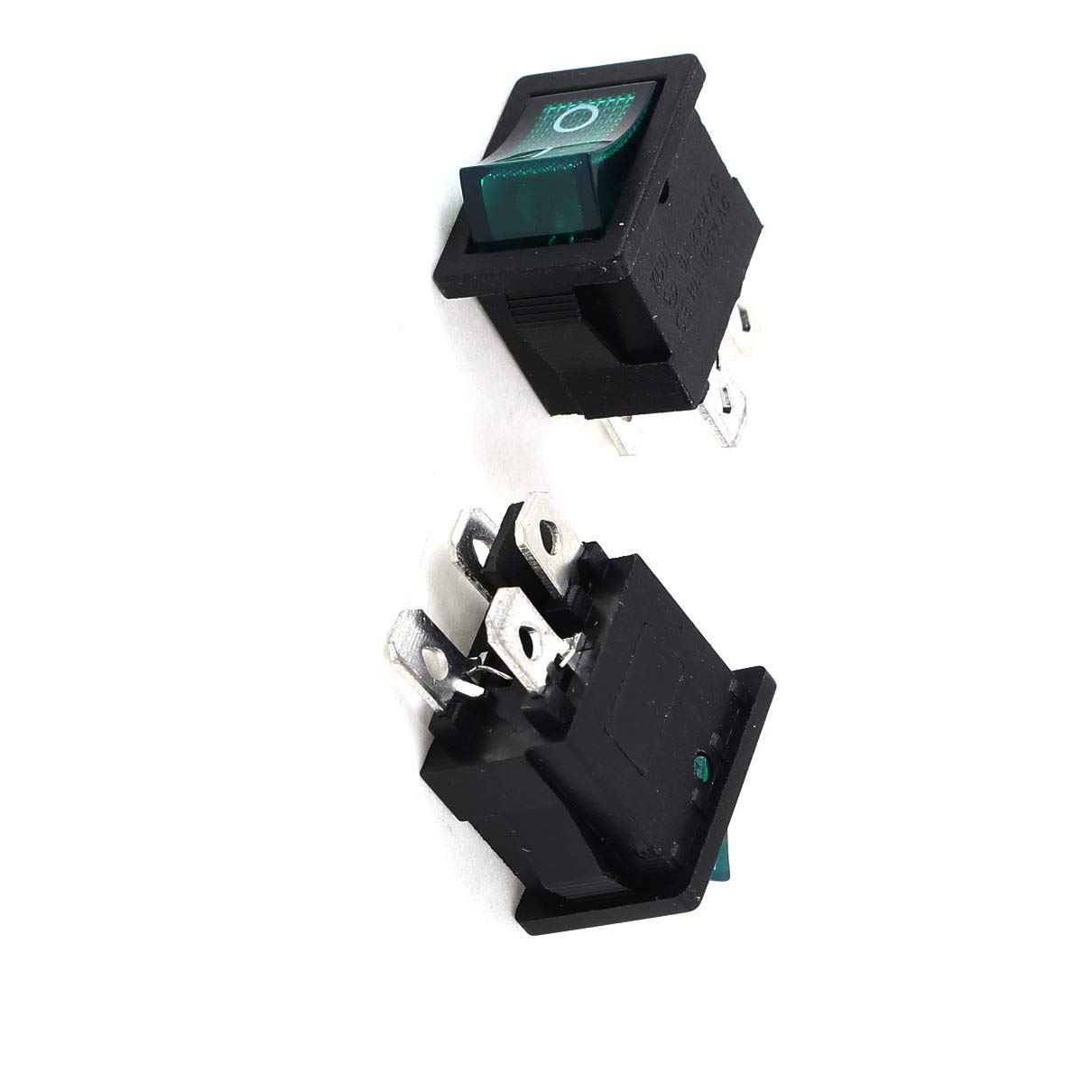 Aexit 5 Pcs Wall Switches Black Round AC 250V 6A 2 Pin ON-Off SPST Snap in Dimmer Switches Rocker Switch