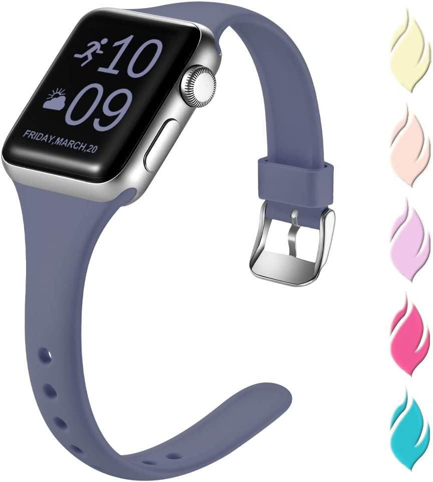 Henva Slim Band Compatible with Apple Watch SE 40mm 38mm, Soft Comfortable Band Compatible for iWatch Series 6 5 4 3 2 1, Blue Gray, S/M