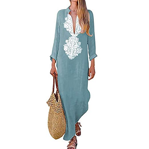 9233b290c30 Women s Bohemian Floral Print Split Cotton Linen Maxi Dress Deep V Neck Long  Sleeve Casual Party