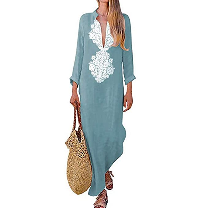 d9a9665af5 Women s Bohemian Floral Print Split Cotton Linen Maxi Dress Deep V Neck Long  Sleeve Casual Party
