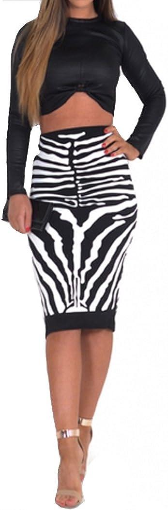 Womens Wet Look Zebra Print Skirt 2 Piece Set) (MTC) mujeres ...