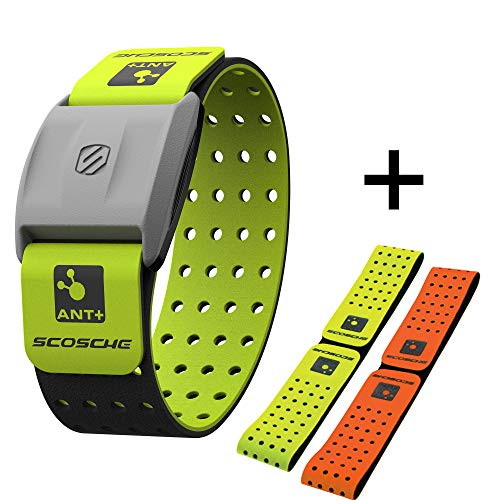 Scosche Rhythm+ Heart Rate Monitor Armband- Optical Heart Rate Armband Monitor with Dual Band Radio ANT+ and Bluetooth Smart - Bonus Pack Includes Additional Free Armband (Green) (Oranges Center Heart The Of)
