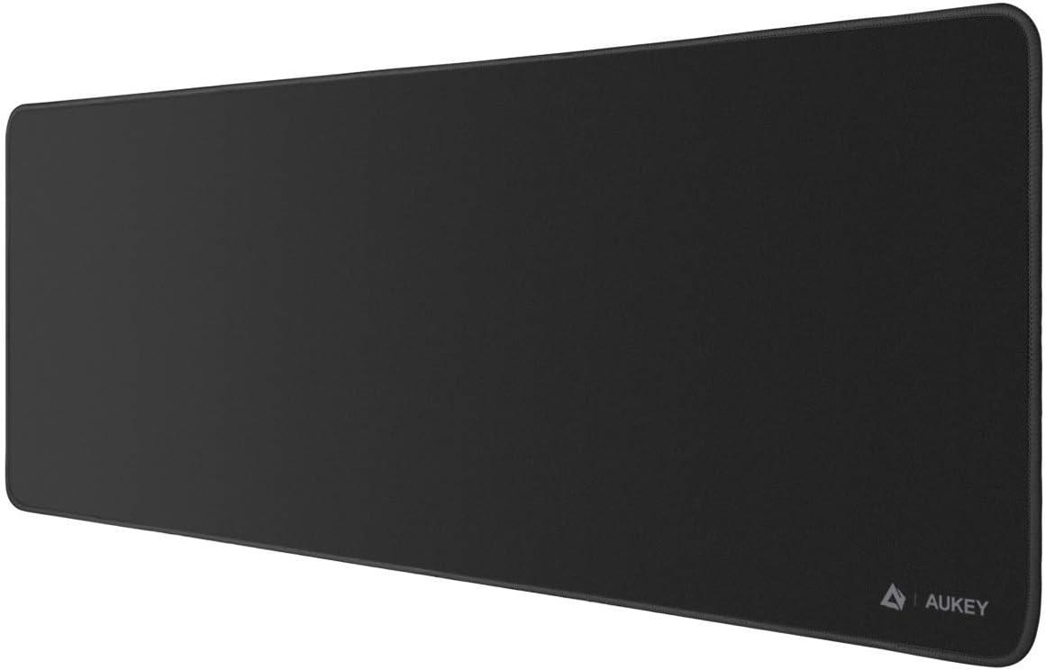 AUKEY Alfombrilla Ratón Grande Gaming Mouse Pad (800x300x4mm) con Superfine Fiber Surface Smooth, Base de Goma Antideslizante para Gamers, Oficina, PC, Portátil, Ordenador, Negro