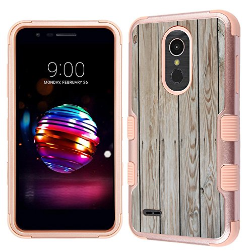 (For LG K30/LG Premier Pro LTE Case, One Tough Shield ShockProof 3-Layer Protector Phone Case (Rose Gold) - Wood Print)