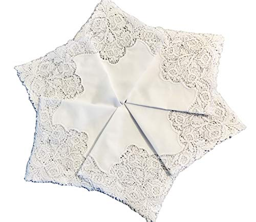 MyButterflyBasket Set of 6 Pieces Floral Bridal Wedding Embroidered Crochet Lace Handkerchief/White for Bride & Lady