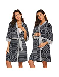 Maternity Nightwear Sets Maternity Confinement Service Maternity Pajamas Thin Section Postpartum Home Service Nursing Clothes Nursing Clothes Spring Autumn and Summer,Black,XXL