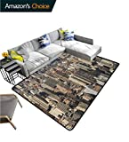 United States Paisley Customize Door Mats for Home Mat, Aerial New York City Famous Town of The World North American Capital Image, Easy Maintenance Area Rug Living Room Bedroom Carpet(2.5'x 7')