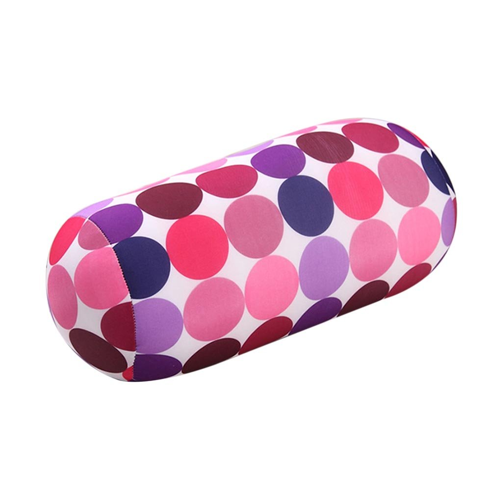DAYNECETY 1pc Microbead Pillow Roll Cushion Travel Beanie Pillow Cover Neck Pillows Lumbar Bolster Cushion Roll Pillow For Maternity Body Squishy Travel Sleep Massage Back Support Rest (Milk Pattern)