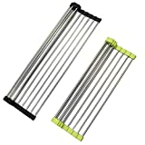 Over the Sink Multipurpose Roll-Up Dish Drying Rack, SourceTon 2 Packs Foldable Heat Resistant Over Sink Stainless Steel Rack - Black and Green