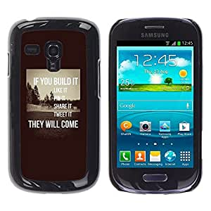 TaiTech / Hard Protective Case Cover - Inspiring Sepia Message Smart - Samsung Galaxy S3 MINI NOT REGULAR! I8190 I8190N by ruishername