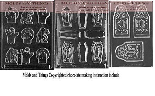Halloween Chocolate Candy Mold Rip thombstone bar chocolate candy mold, Casket with mummy chocolate candy mold and Assorted with Rip chocolate candy mold With Candy Making Instruction