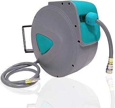 AUFUN Carrete para Manguera de Aire 20m Enrollador Manguera Aire Comprimido Manguera Enrollable con conexión automática de 1/4 para reparación de coches, bola de bloqueo estaciones: Amazon.es: Bricolaje y herramientas