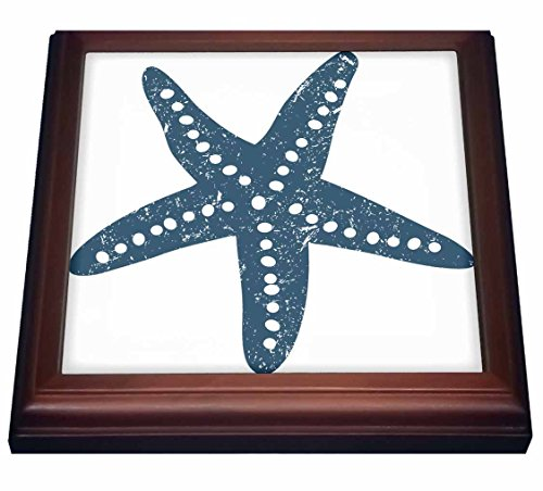 3dRose trv_213846_1 Blue & White star Fish Illustration Trivet with Ceramic Tile, 8 x 8