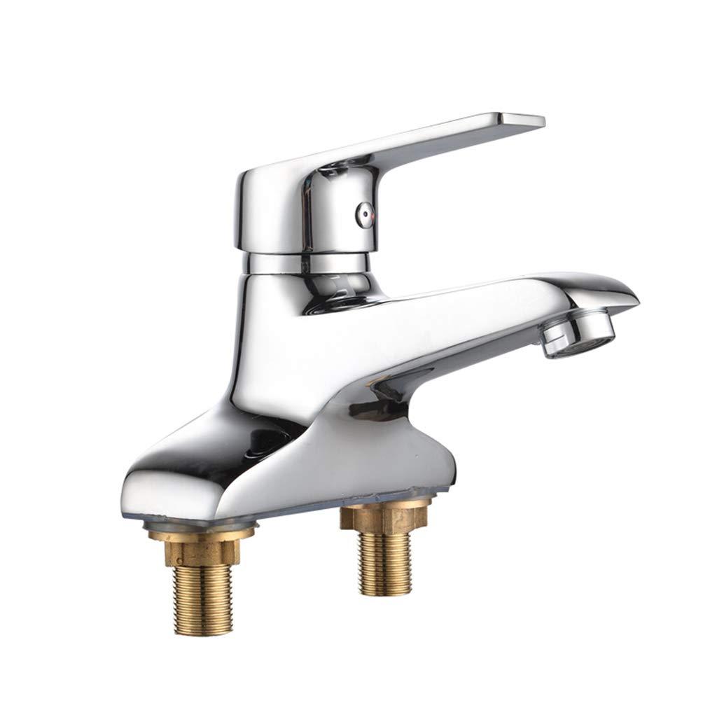 Yxx max Bathroom Basin Mixer Hot and Cold Double Hole Three Hole Copper Washbasin Faucet