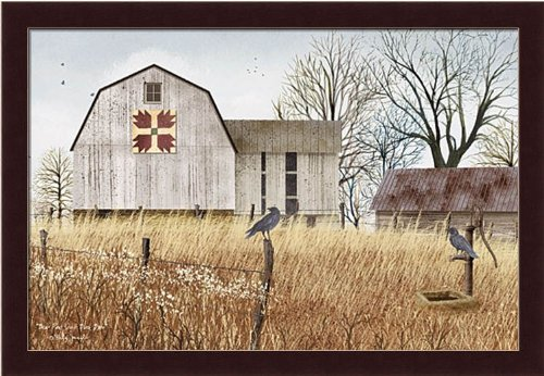 Bear Paw Quilt (Bear Paws Quilt Block Barn by Billy Jacobs Primitive Country Farm 19.5x13.5 Framed Art Print Picture)