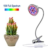 LED Grow Light, Aokey 15W Desk Clamp Plant Grow Lamp  UV Plant Light with 360°Flexible Gooseneck for Indoor Plants, Hydroponics Greenhouse Garden  [2018 Upgraded]